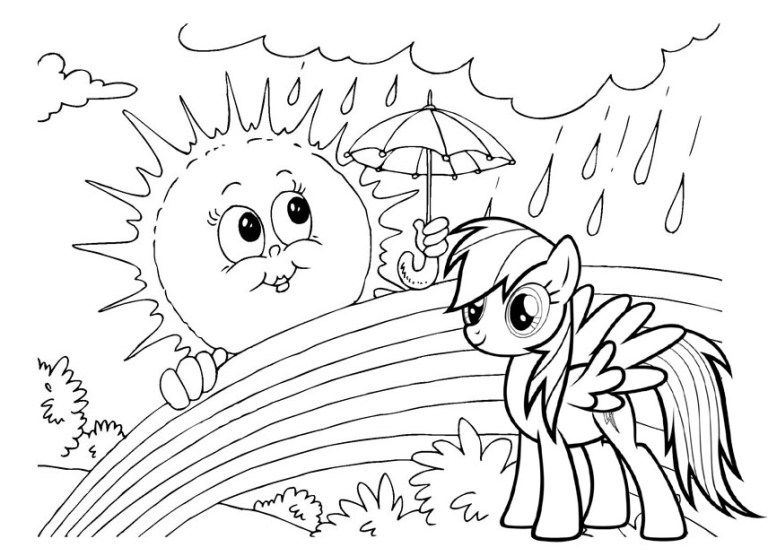 Wonderful Rainbow Dash My Little Pony Coloring Page | Pretty Awesome ...