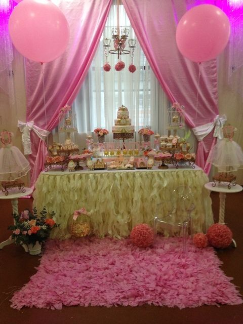 Little princess birthday party dessert table see more - Cortinas de princesas ...