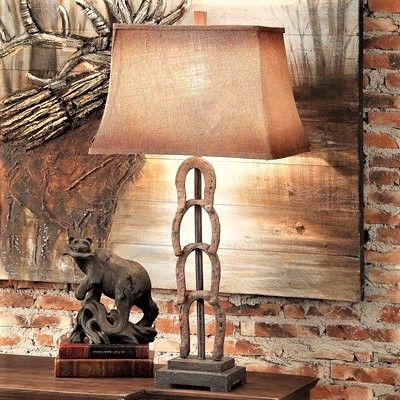 Our Horseshoe Lamp Is Great Lighting At Your Entryway, Bedside Your Bed Or  Use At Either End Of Your Sofa. Rustic Lamp Includes A Burlap Shade.