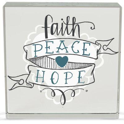 Angelstar Faith/Peace Rachel Anne Textual Art Plaque (Set of 2)
