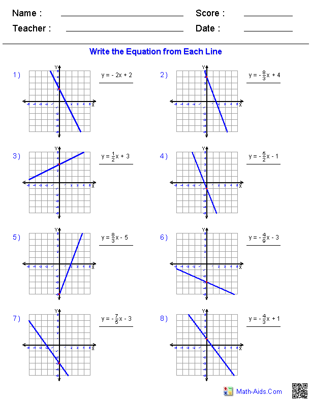 Pre-Algebra Worksheets Linear Functions Worksheets Writing Linear  Equations, Graphing Linear Equations, Writing Equations