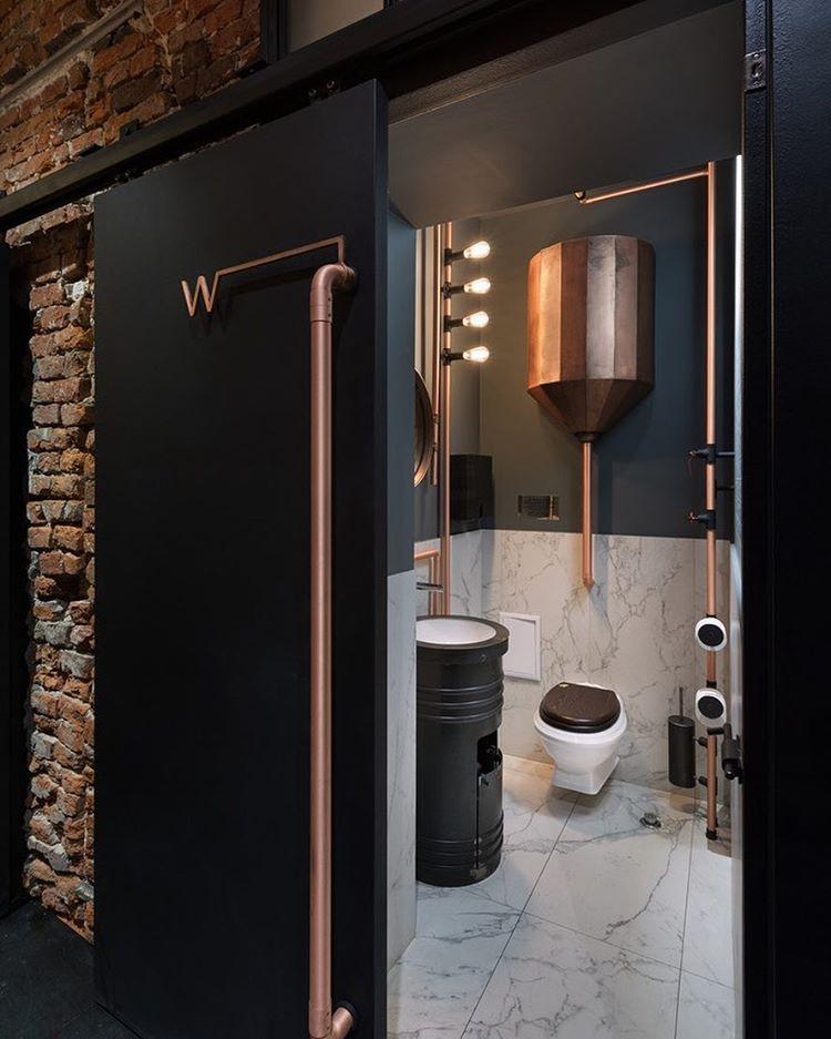 Copper Industrial Bathroom Restroom Design Restaurant Bathroom