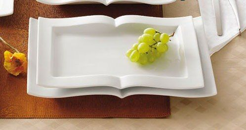 CAC GBK-13 Goldbook Book-Shaped China Serving Platter 12 inch x 8 1/8 inch - 12/Case
