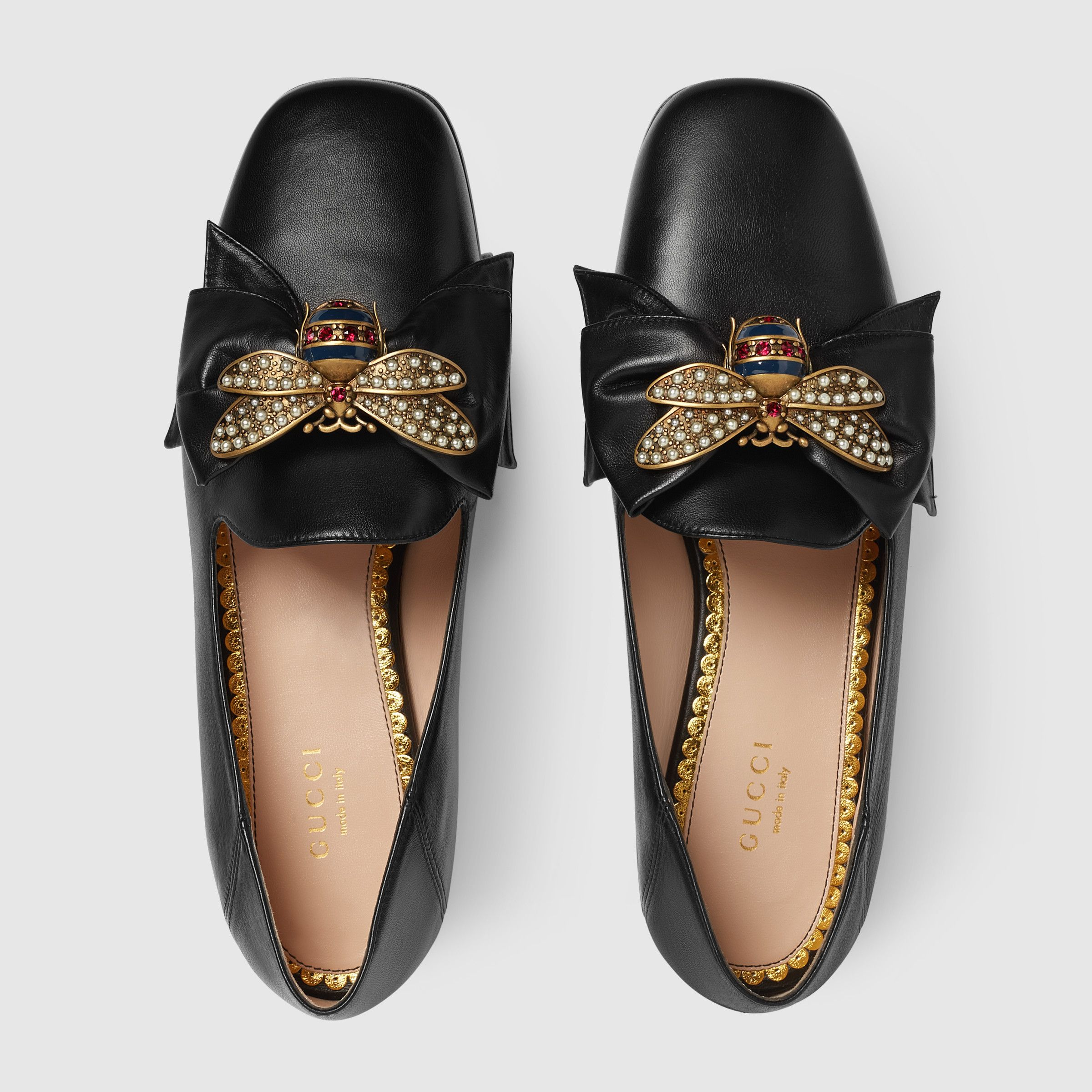 63ca83399 Leather ballet flat with bow - Gucci Women s Moccasins   Loafers  505291BKO001000