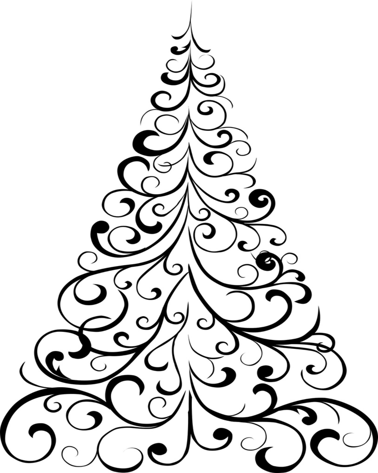 free printable christmas tree coloring page | holly jolly x-mas