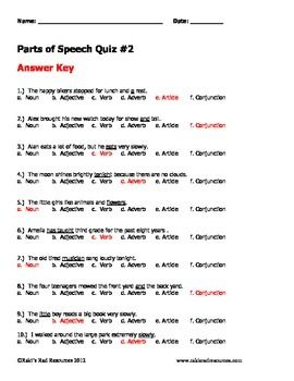 Parts Of Speech Practice Sheets And Quizzes Parts Of Speech Practice Parts Of Speech Practice Sheet