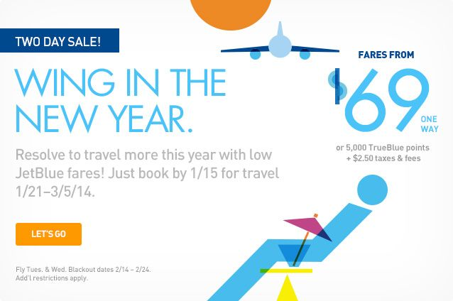 JetBlue has extended its Wing in the New Year sale