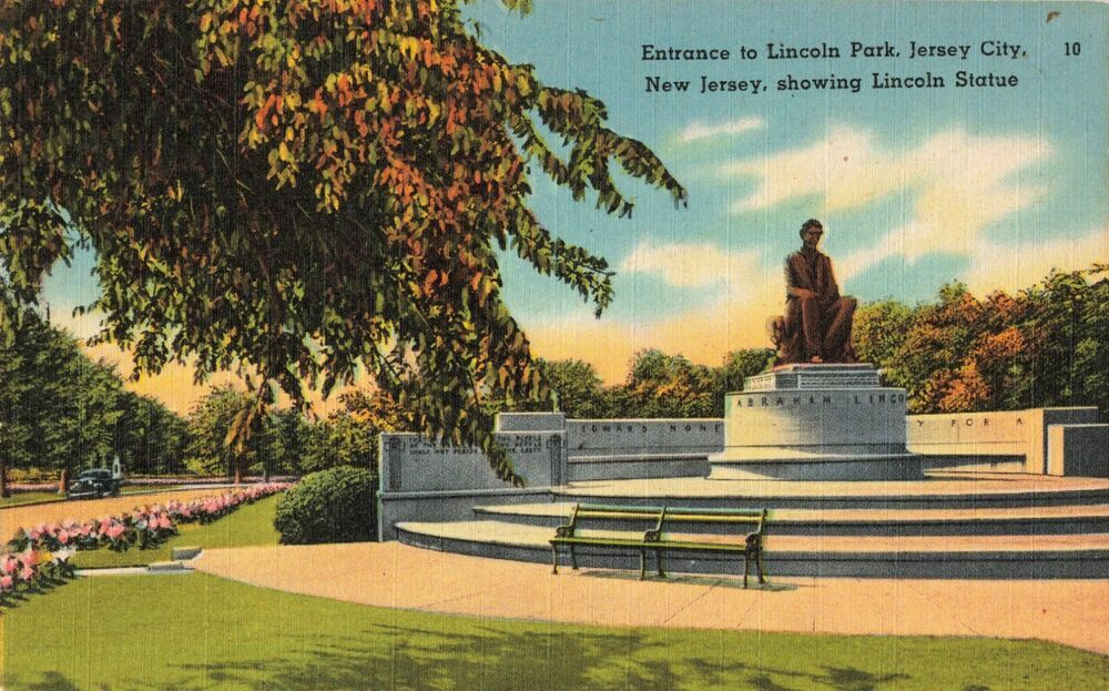 Details about postcard lincoln park jersey city new jersey