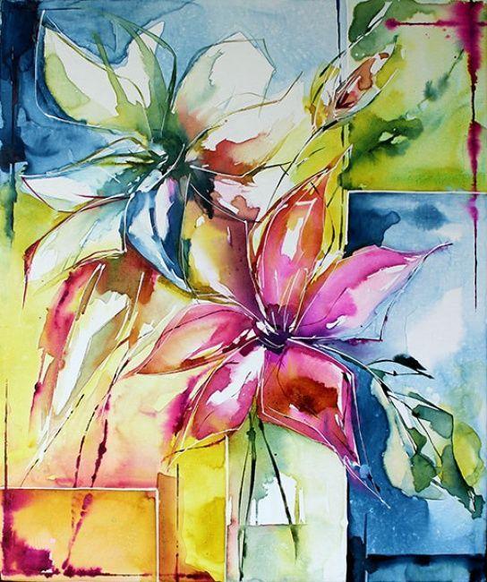 Lis Peinture 61x55 Cm Par Veronique Piaser Moyen Aquarelle