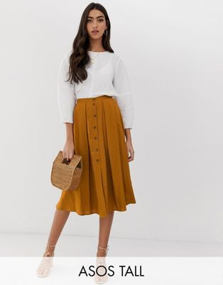 5599404c4 ASOS DESIGN Tall button front floaty midi skirt with pleats | ASOS