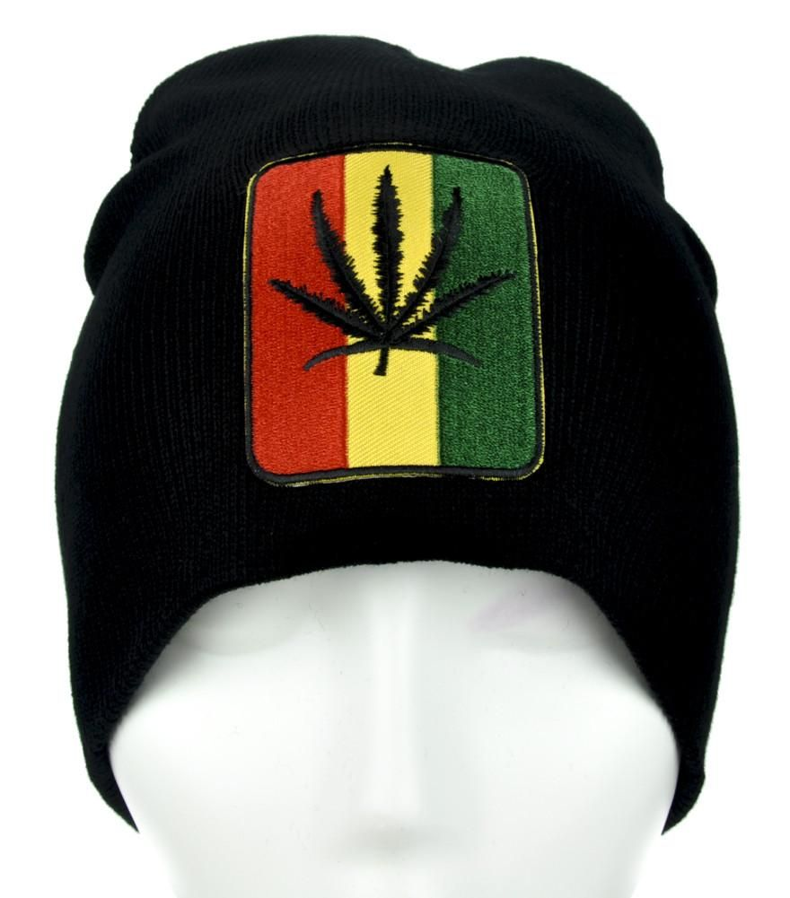 Cannabis Pot Leaf Beanie Alternative Clothing Knit Cap Legalize Marijuana