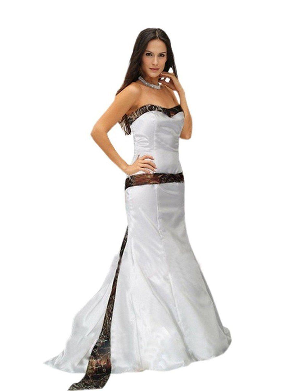 Mollybridal mermaid wedding dress strapless camo satin for bride