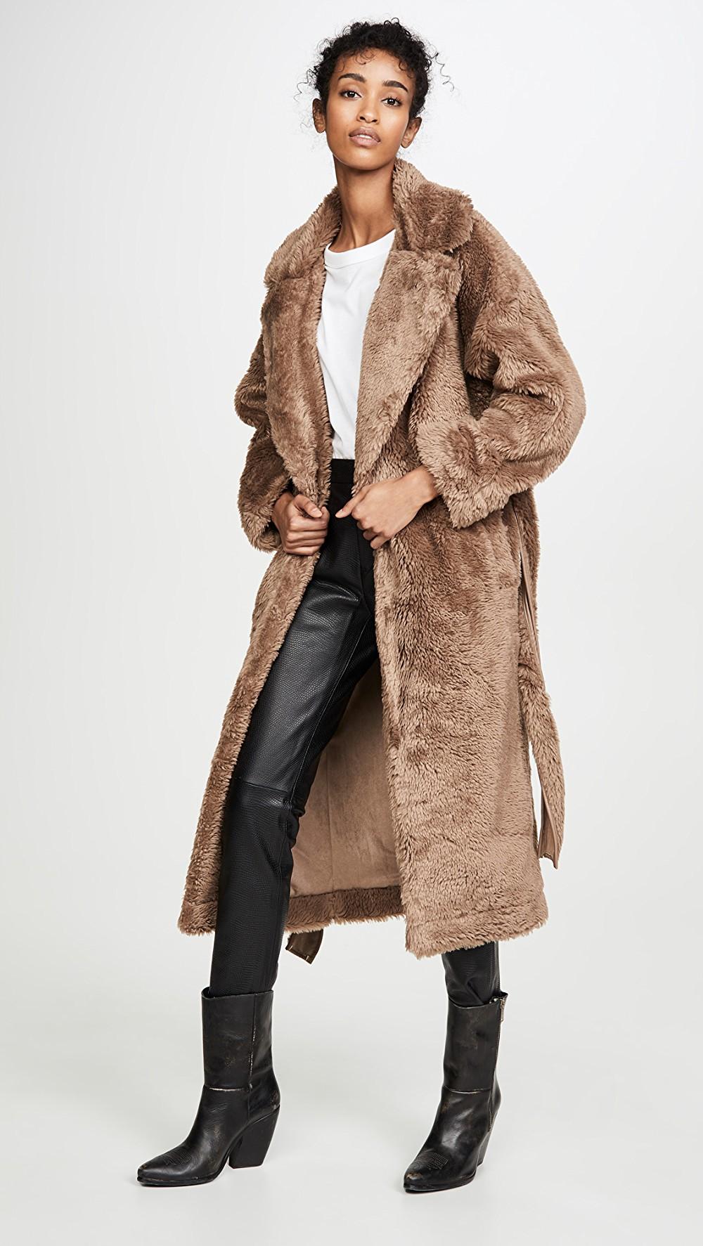 Tie Waist Faux Fur Jacket en 2020