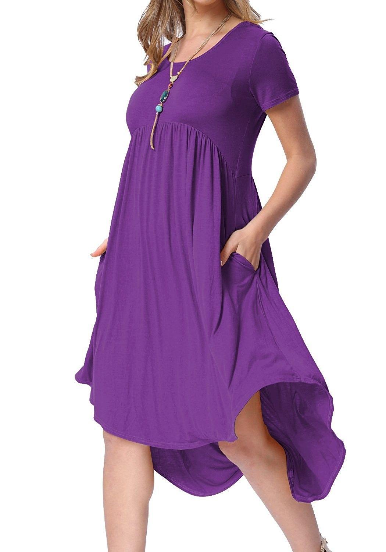 5fa55ca2baec Women s Scoop Neck Pockets High Low Pleated Loose Swing Casual Midi Dress -  01-purple 01 - CZ184UT7QWQ
