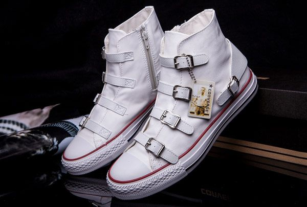 Converse VS ASH Limited Edition Multi Buckles White Leather Chuck Taylor All  Star High Tops Sneakers : Converse american flag shoes and converse  platforms ...