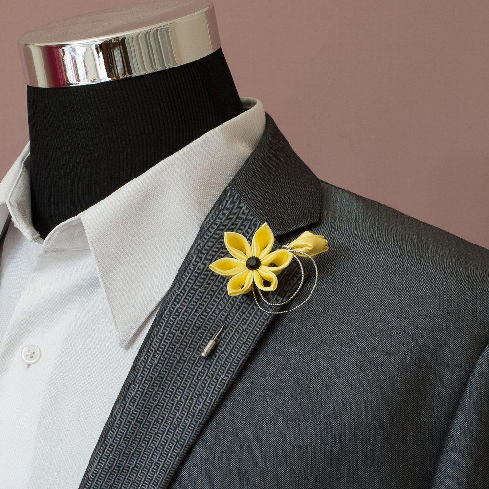 Canary Kanzashi Flower Stick Lapel Pin - Boutonniere