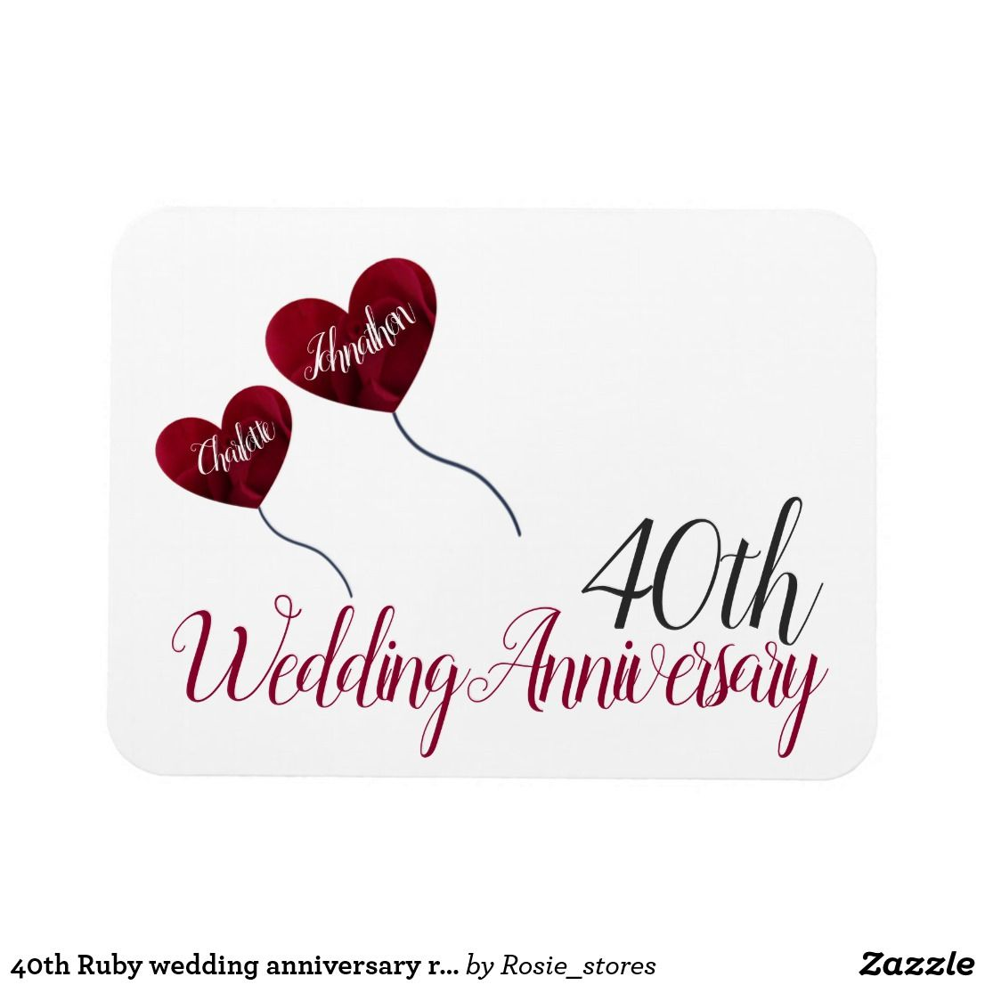 40th Ruby Wedding Anniversary Red Heart Balloons Magnet Zazzle