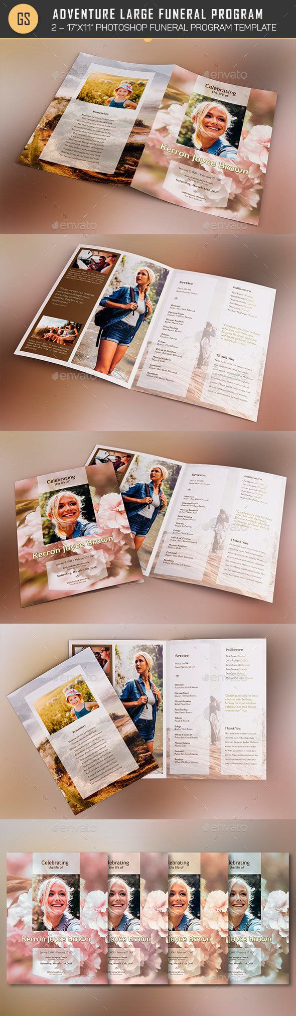 Adventure Large Funeral Program Template Program Template - Informational brochure template