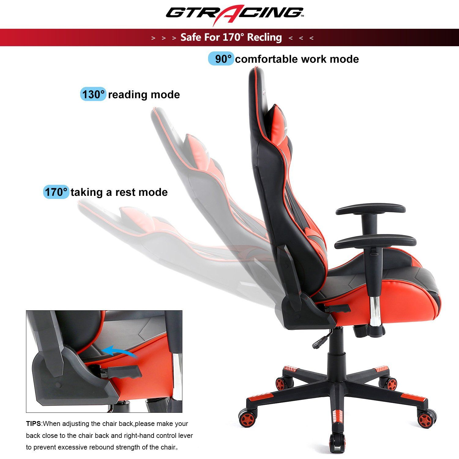 Gtracing gaming office chair game racing ergonomic backrest and seat