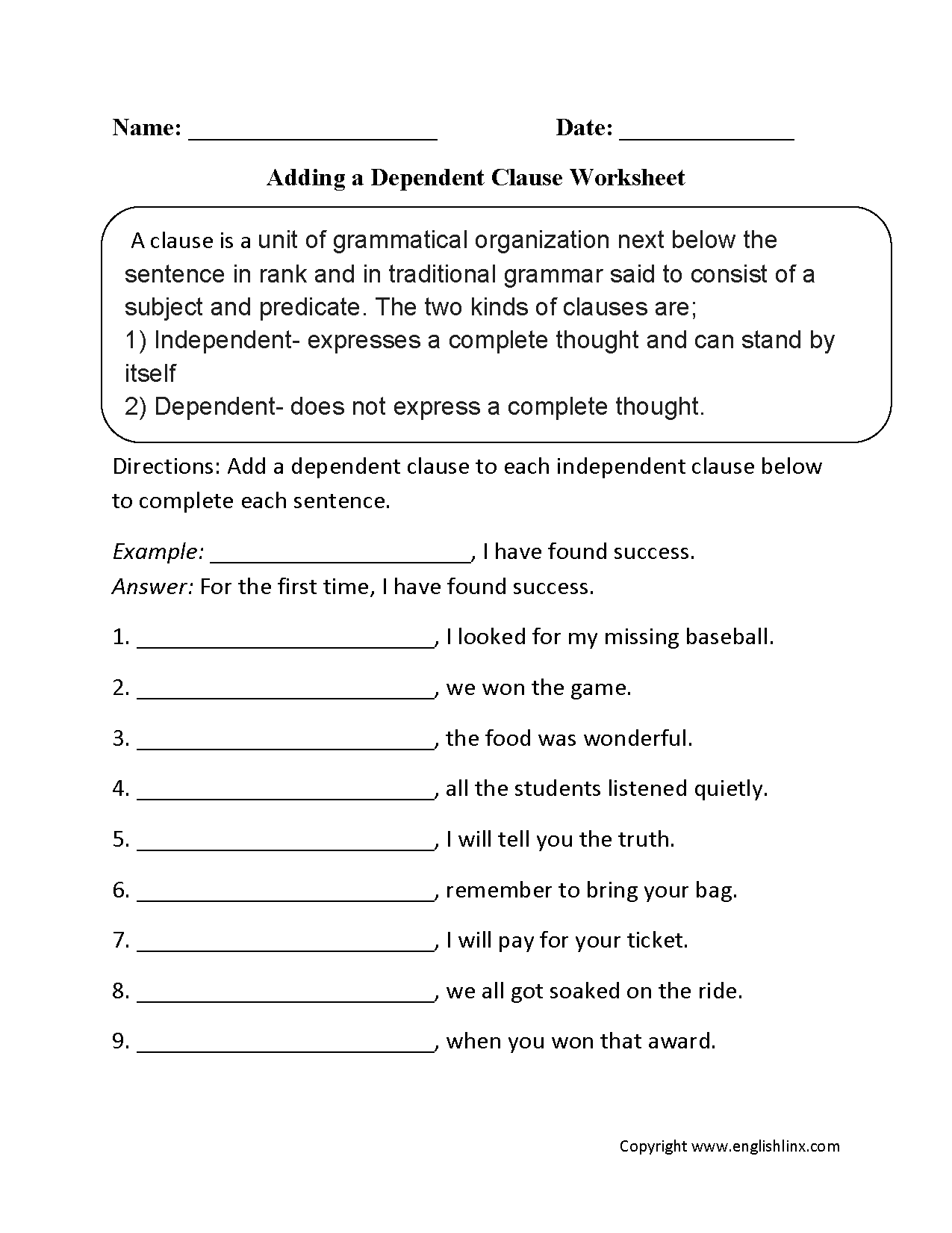 Adding a Dependent Clause Worksheet – Independent and Subordinate Clauses Worksheet