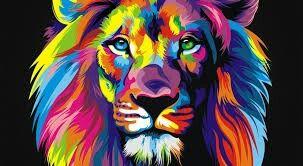 Imagen Animada Leon Pintado Con Acrilico Pintura De Leon