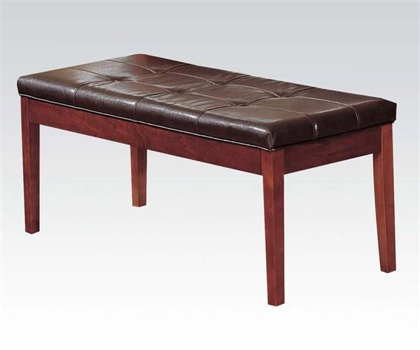 Bologna Transitional Cherry Pu Wood Bench Upholstered Dining Bench Acme Furniture Leather Upholstery