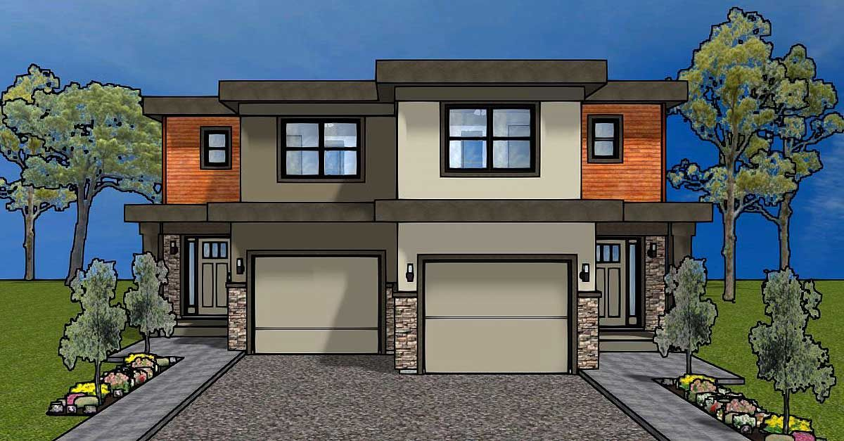 Plan 67718mg Duplex House Plan For The Small Narrow Lot Duplex Plans Duplex House Duplex Design