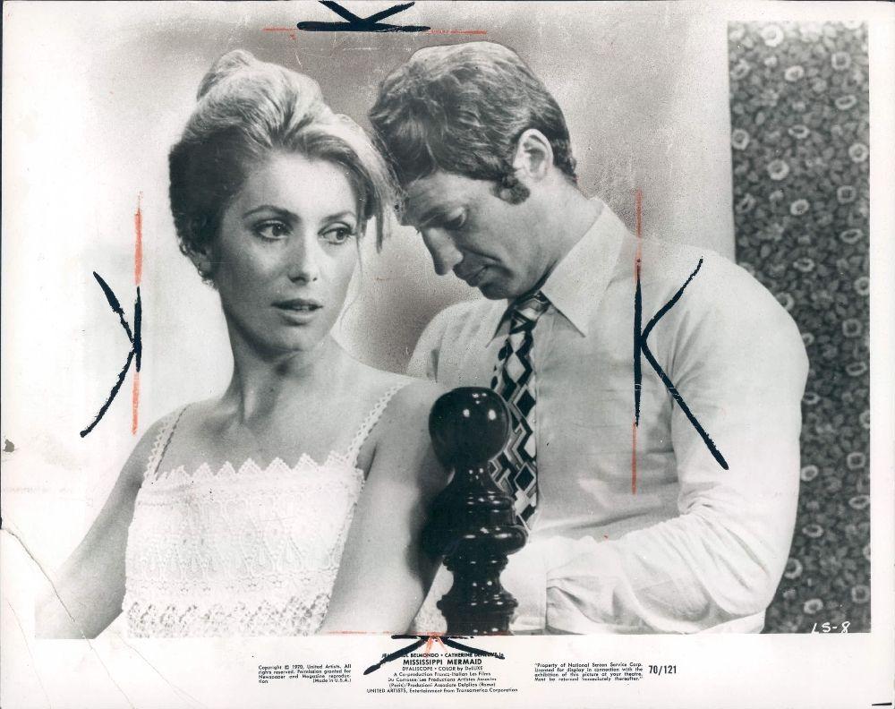 Jean Paul Belmondo and Catherine Deneuve in La Sirene du Mississippi directed by François Truffaut, 1969