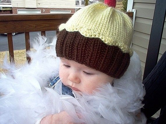 Knitting Pattern Cupcake Hat PDF INSTANT DOWNLOAD Cherry on Top diy ...