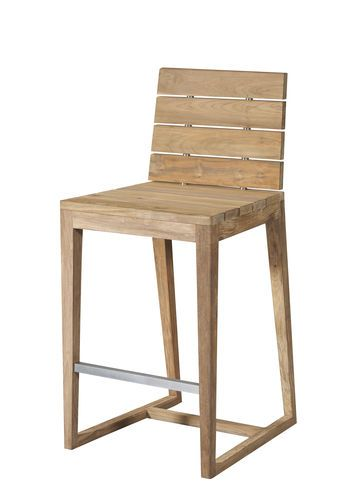 bar chair contemporary with footrest teak athentico saveri