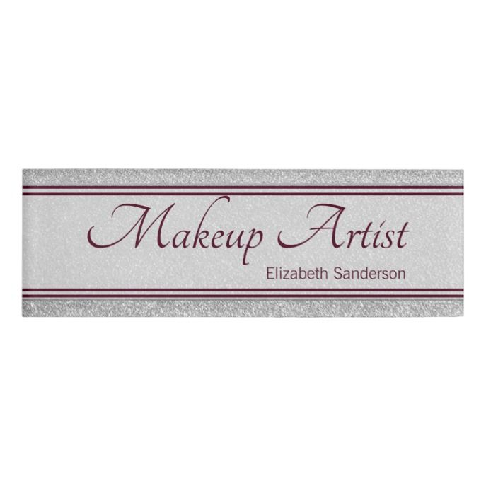 Silver Glitter Burgundy Personalized Makeup Artist Name Tag Zazzle Com Makeup Artist Names Name Tags Makeup