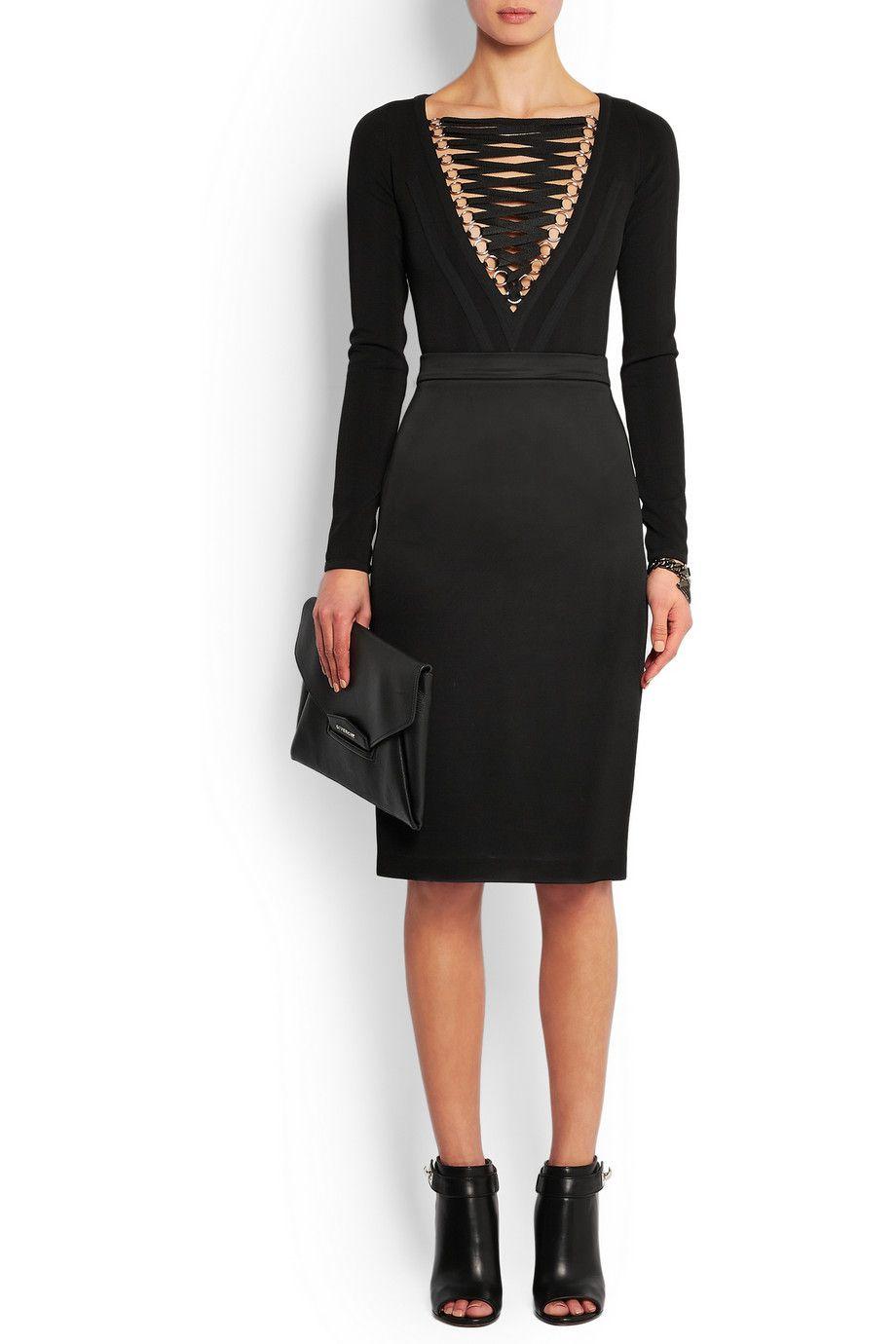 Givenchy Lace-up stretch-jersey bodysuit in black NET-A-PORTER.COM