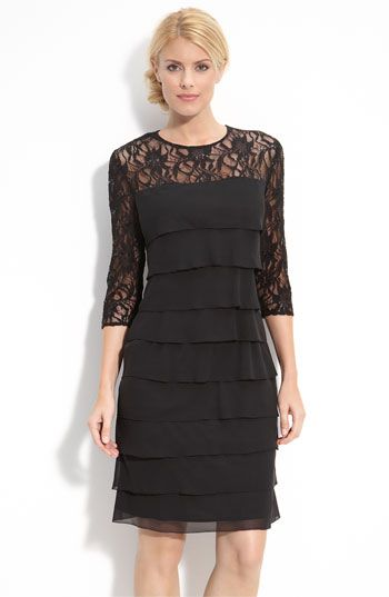 Alex Evenings Tiered Chiffon & Lace Sheath Dress (Regular & Petite ...