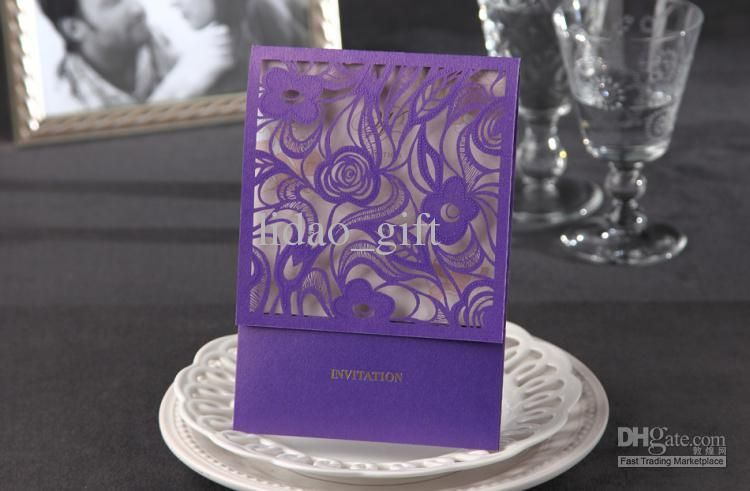 Cheap Wedding Invitations - Best Lilac Flower Cutout Wedding Invitation Set of 100 Online with $1.29/Piece | DHgate