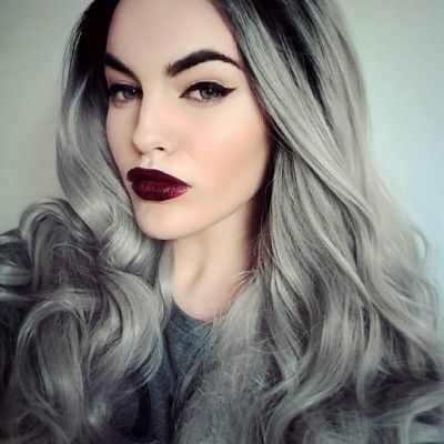 Long Angel Dust Grey Synthetic Lace Front Wig Long Angel Dust Grey ...