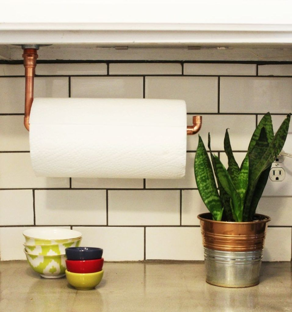 Diy Under Cabinet Hanging Copper Paper Towel Holder Diy Kitchen Backsplash Farmhouse Paper Towel Holders Diy Kitchen Decor
