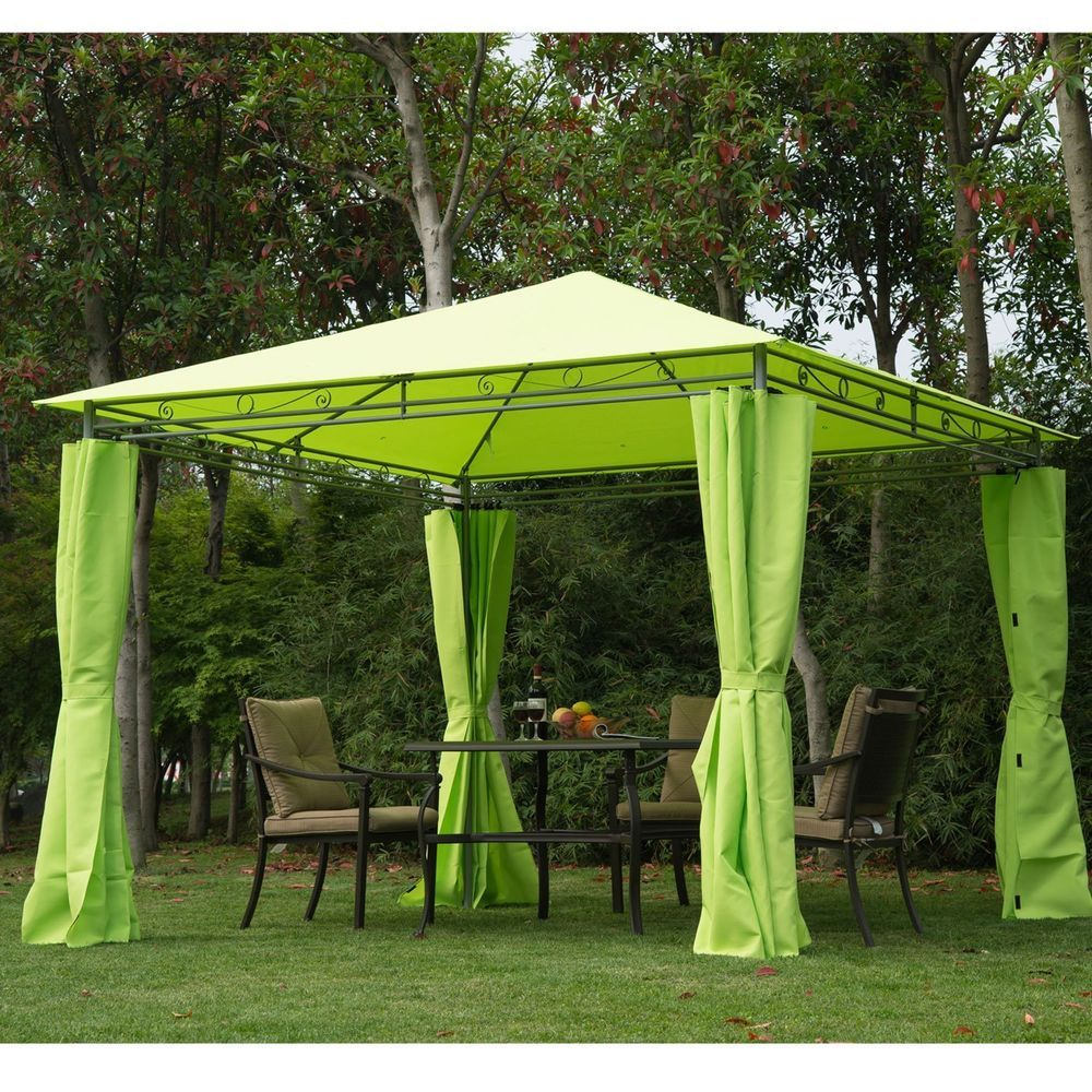 Metal Garden Gazebo Outdoor Heavy Duty Party Tent Event Canopy BBQ Table Chair