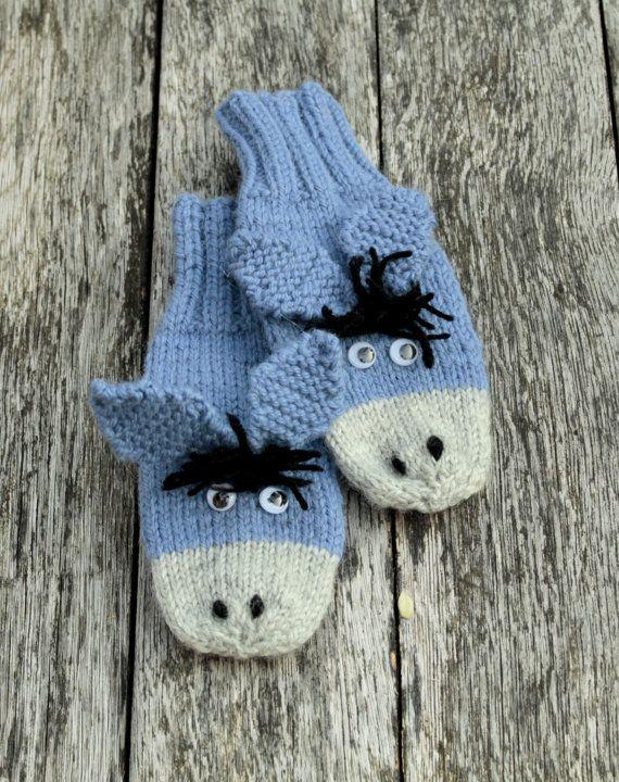 Children Animals Mittens Ass Eeyore Gloves Funny Kids Mittens