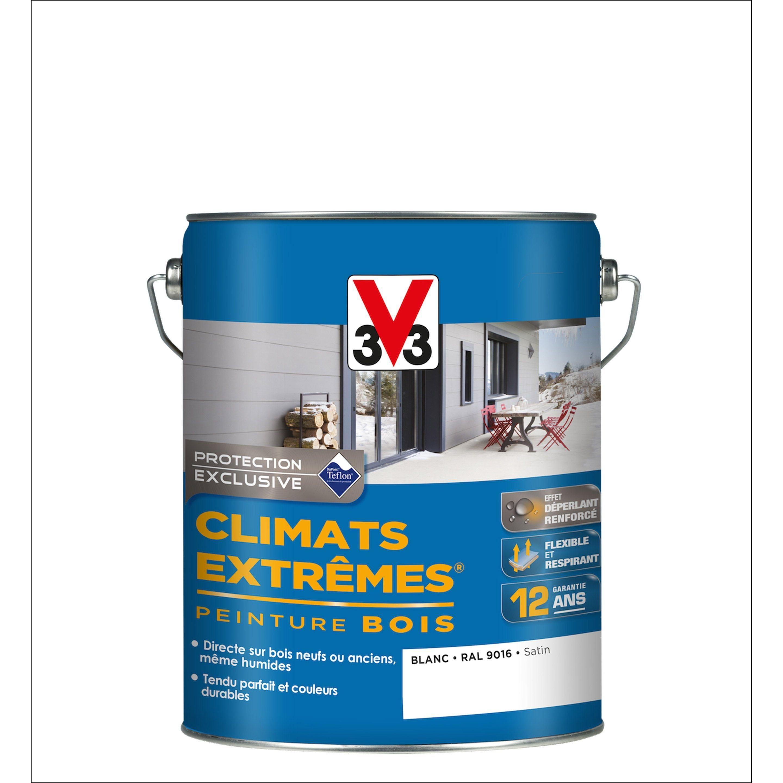 Peinture Bois Extérieur Climats Extrêmes V33 Satin Blanc 5