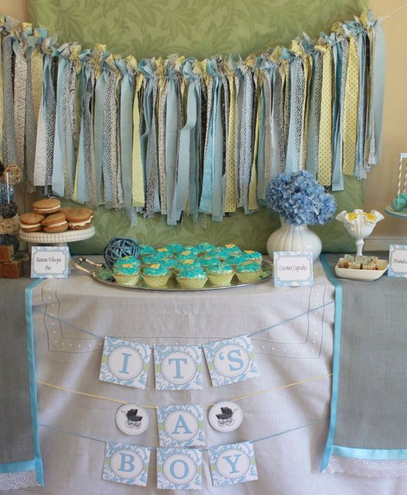 tablescapes baby boy shower adorable vintage stroller themed party table for a baby boy shower - Baby Shower Tablescapes Ideas