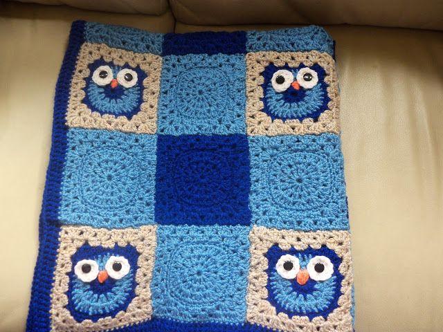 Crochet Nursery Owls Ripple Blanket with Free Pattern   Crochet owl ...