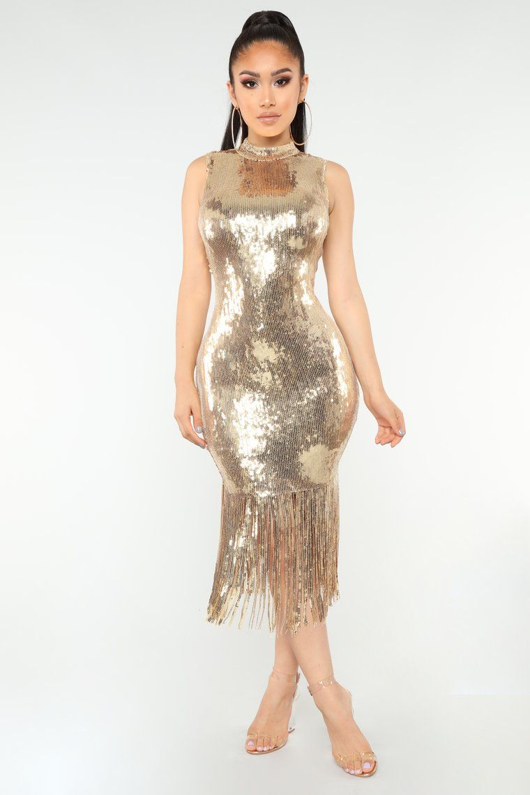 536c5cbb98 Disco Nights Sequin Dress - Gold in 2019