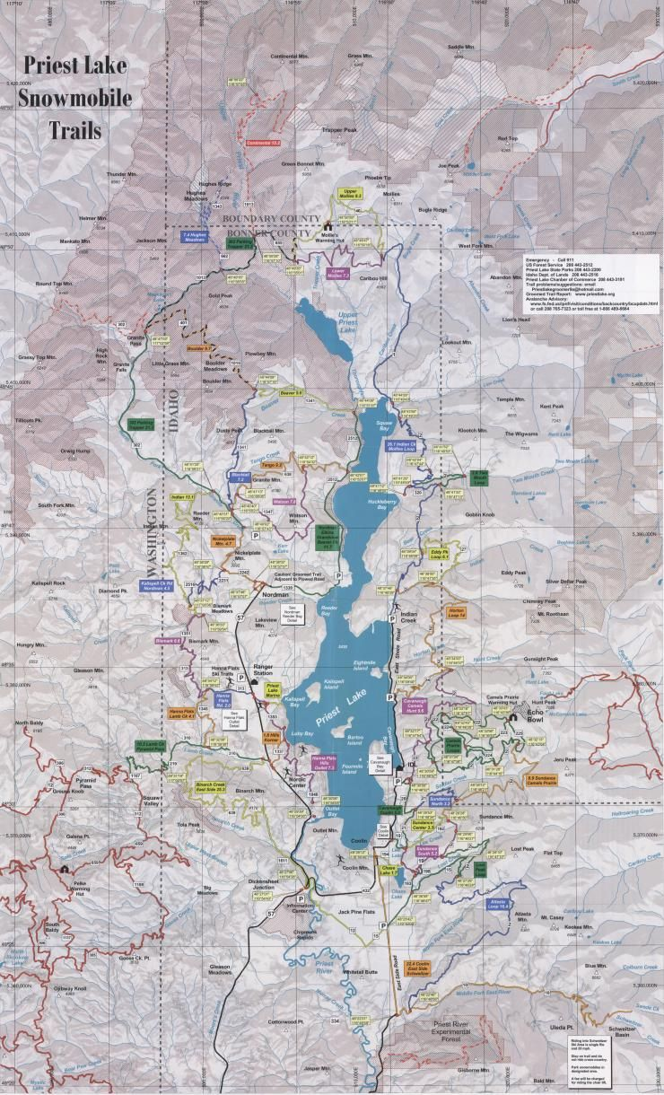 priest lake camping map Priest Lake Idaho Snowmobile Trail Map Lake Beautiful Places priest lake camping map