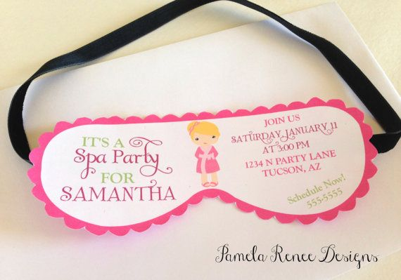 Printable spa party mask invitation with your choice of for Spa mask invitation template