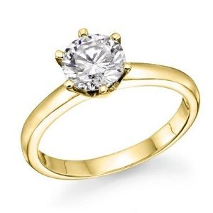 Round Diamond Solitaire Engagement Ring in 14k Yellow Gold
