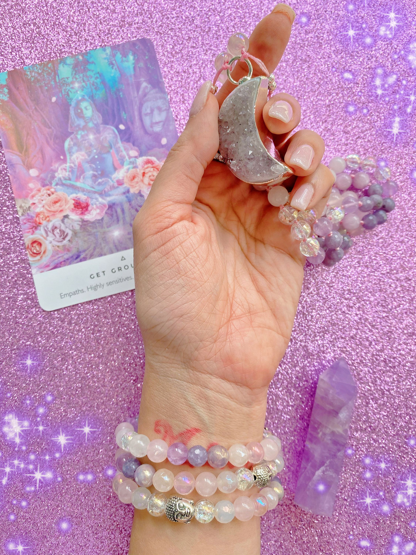 Morganite Mystic Chalcedony Rose Quartz Self Love Angel Aura Quartz 108 Mala Necklace Cherry Blossom Agate