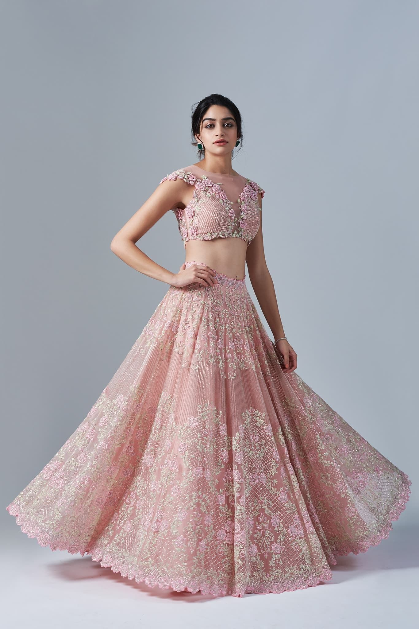 b111975beaaa1 Koecsh Festive 2017 Rosaria: Rose Pink 3D floral blouse and lehenga with  hints of powder green, embellished with rhinestones.