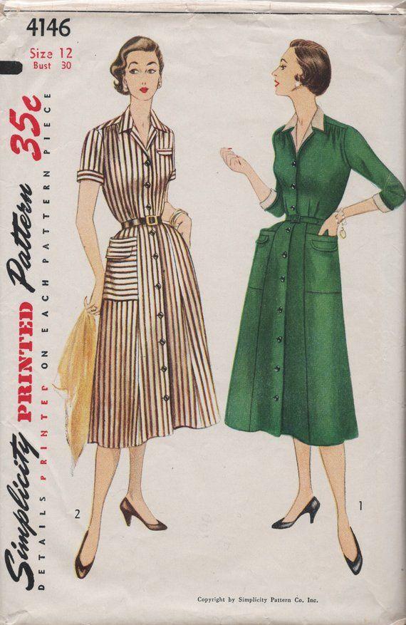 153ffb7d018 Vintage Shirt Dress with Detachable Dickey   Cuffs