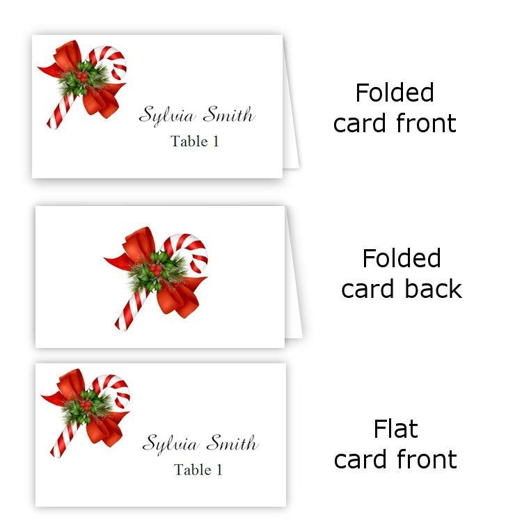 Folding Name Card Template Luxury Candy Cane Folded Table Tent Flat Place Card Templates Place Card Template Free Place Card Template Foldable Card Template