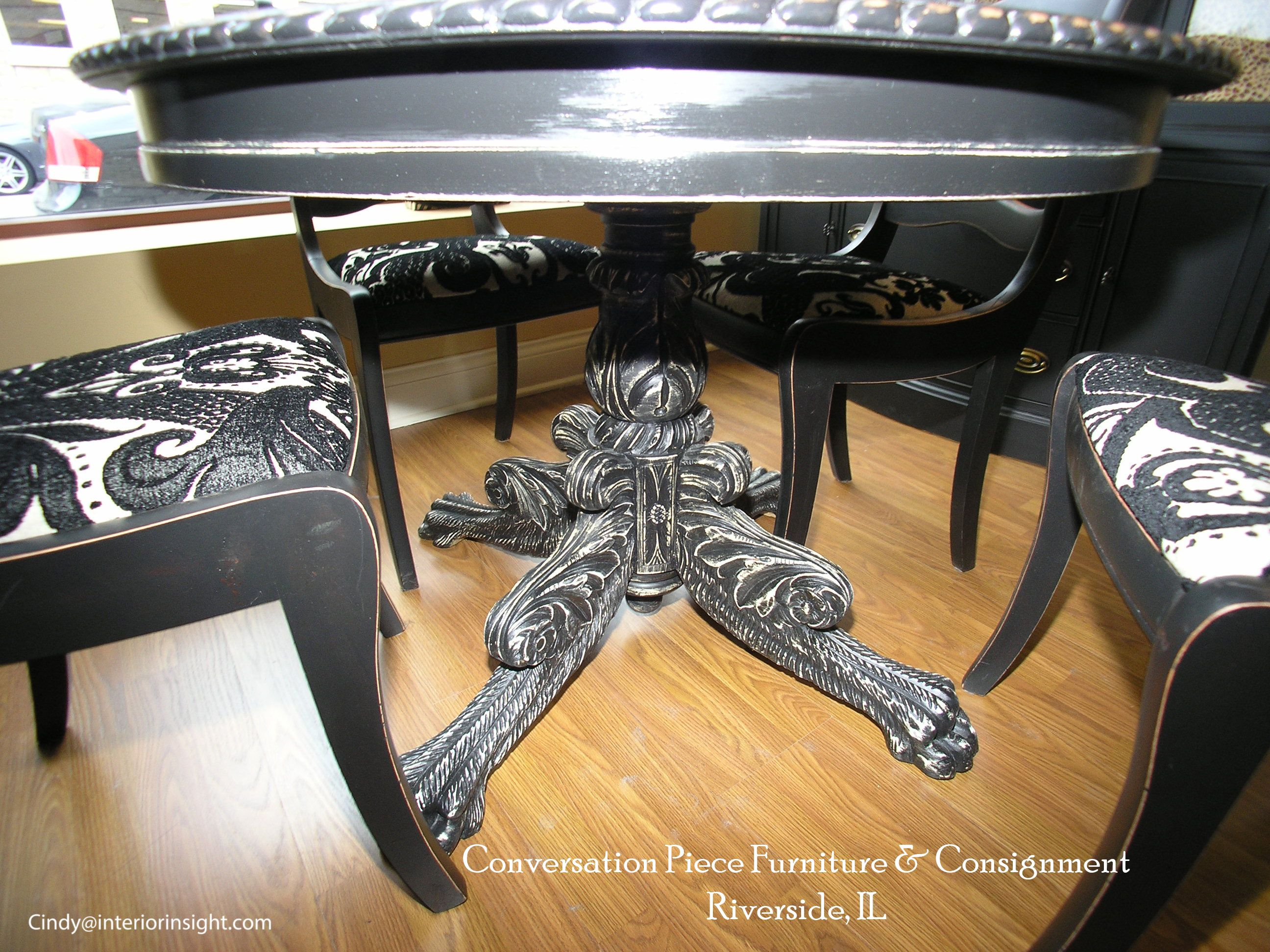 Black Round Table and Chairs upcycled by Conversation Piece